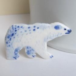 Porcelain Polar Bear - unique handcrafted brooch
