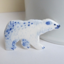 Porcelain Polar Bear - unique handcrafted brooch