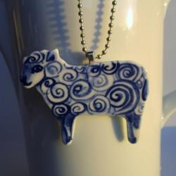 Delfts blauw Schaapje - hanger aan ketting