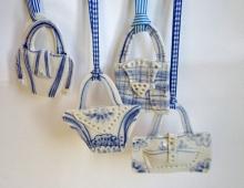 Handbags Christmas decorations in porcelain