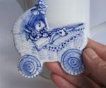 Handbeschilderd wiegje - Delfts blauwe hanger
